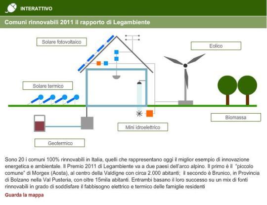Consumi: Legambiente premia i Comuni rinnovabili